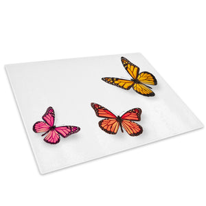 Pink Red Yellow Butterfly Glass Chopping Board Kitchen Worktop Saver Protector - A330-Animal Chopping Board-WhatsOnYourWall