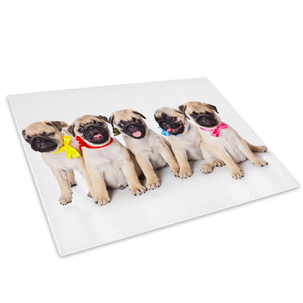 Pug Puppies Dogs Red Blue Glass Chopping Board Kitchen Worktop Saver Protector - A332