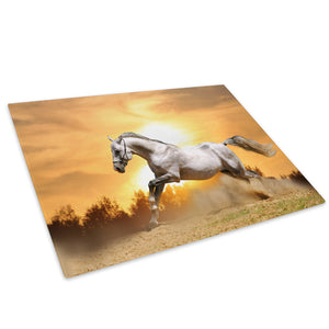 White Horse Grey Sunset Glass Chopping Board Kitchen Worktop Saver Protector - A334-Animal Chopping Board-WhatsOnYourWall