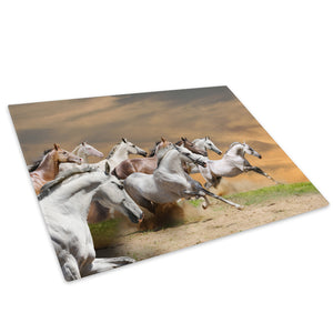 Herd Horse Gallop Yellow Glass Chopping Board Kitchen Worktop Saver Protector - A336-Animal Chopping Board-WhatsOnYourWall