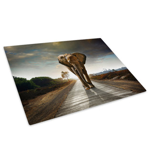 Africa Elephant Sunset Glass Chopping Board Kitchen Worktop Saver Protector - A339