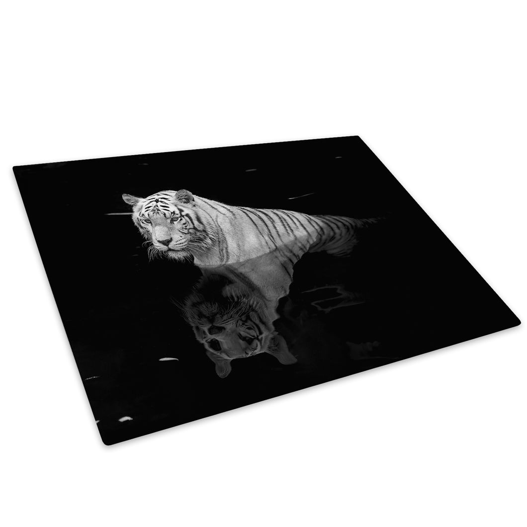 Tiger White Black Grey Glass Chopping Board Kitchen Worktop Saver Protector - A342-Animal Chopping Board-WhatsOnYourWall