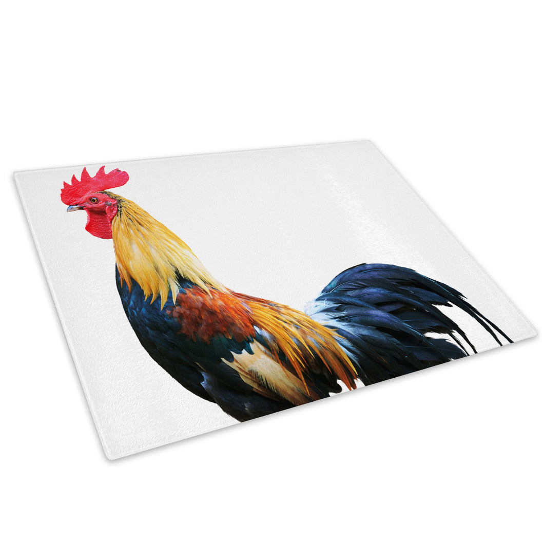 Brown Rooster Chicken Hen Glass Chopping Board Kitchen Worktop Saver Protector - A352-Animal Chopping Board-WhatsOnYourWall