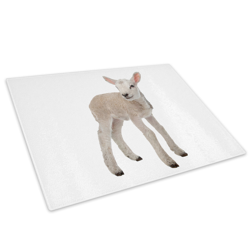 Farm White Lamb Sheep Grey Glass Chopping Board Kitchen Worktop Saver Protector - A354-Animal Chopping Board-WhatsOnYourWall