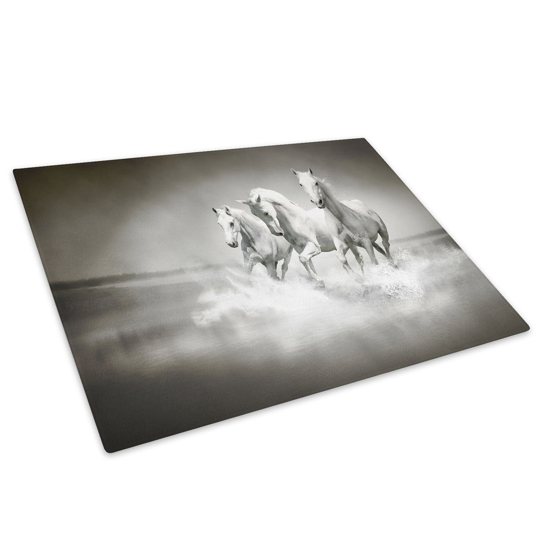 White Horses Black Grey Glass Chopping Board Kitchen Worktop Saver Protector - A356-Animal Chopping Board-WhatsOnYourWall