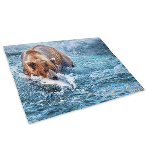 Brown Bear Sea Blue White Glass Chopping Board Kitchen Worktop Saver Protector - A369-Animal Chopping Board-WhatsOnYourWall