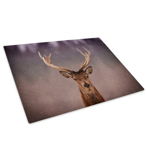 Snow Brown Stag Orange Glass Chopping Board Kitchen Worktop Saver Protector - A374-Animal Chopping Board-WhatsOnYourWall