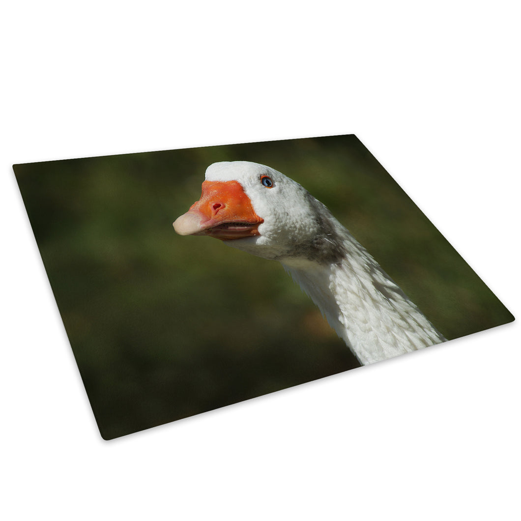 Farm White Goose Green Glass Chopping Board Kitchen Worktop Saver Protector - A379-Animal Chopping Board-WhatsOnYourWall