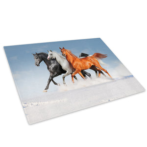 Horses Brown White Black  Glass Chopping Board Kitchen Worktop Saver Protector - A382
