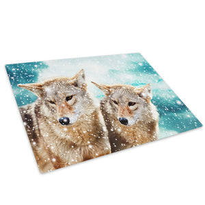 Wolves Snow Blue Brown Glass Chopping Board Kitchen Worktop Saver Protector - A383-Animal Chopping Board-WhatsOnYourWall
