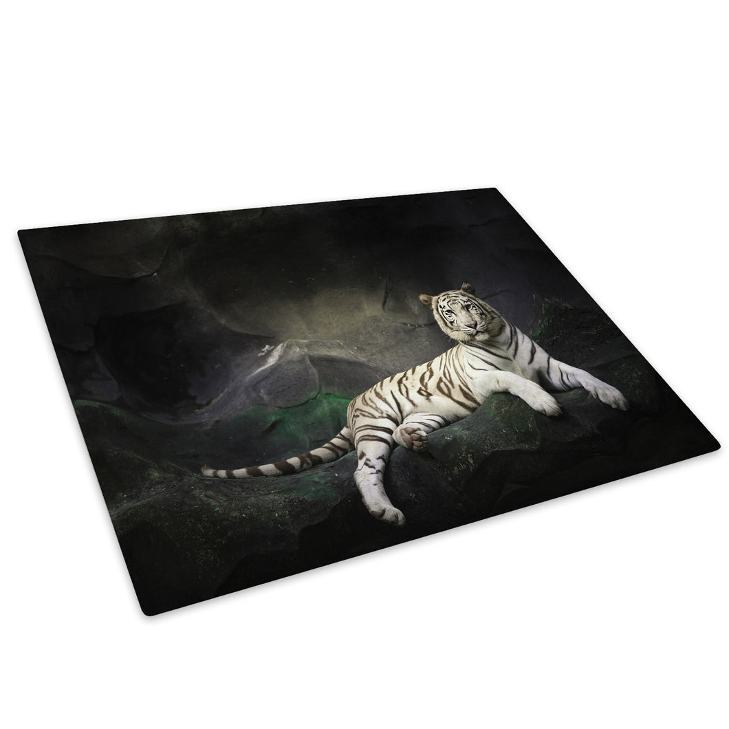 White Tiger Black Grey Glass Chopping Board Kitchen Worktop Saver Protector - A385