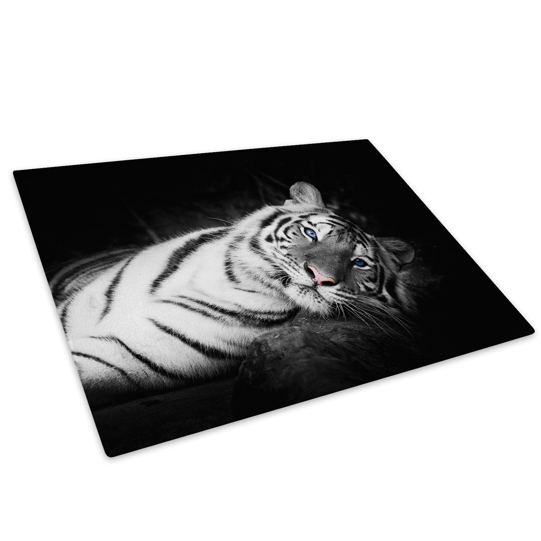White Blue Tiger Black Glass Chopping Board Kitchen Worktop Saver Protector - A391-Animal Chopping Board-WhatsOnYourWall