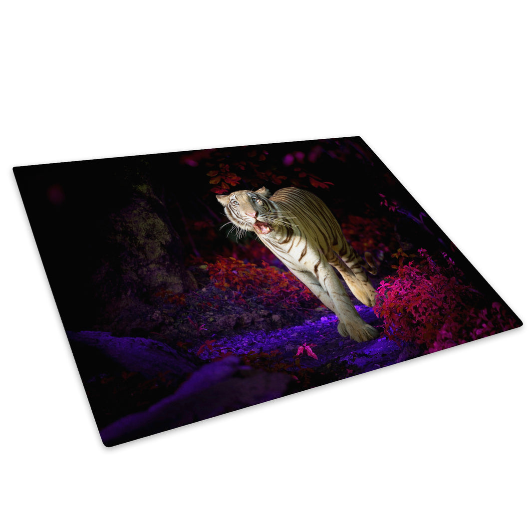 Pink Blue Forest Tiger Glass Chopping Board Kitchen Worktop Saver Protector - A399