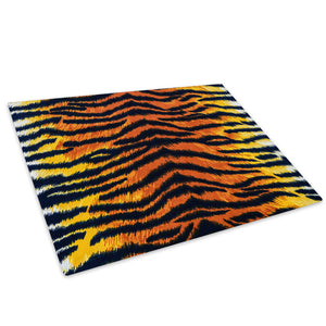 Tiger Stripe Fur Coat Red Glass Chopping Board Kitchen Worktop Saver Protector - A403-Animal Chopping Board-WhatsOnYourWall