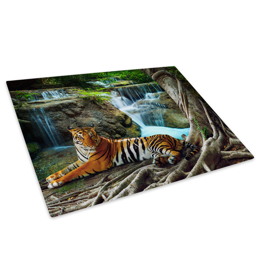 Waterfall Tiger Orange Red Glass Chopping Board Kitchen Worktop Saver Protector - A412