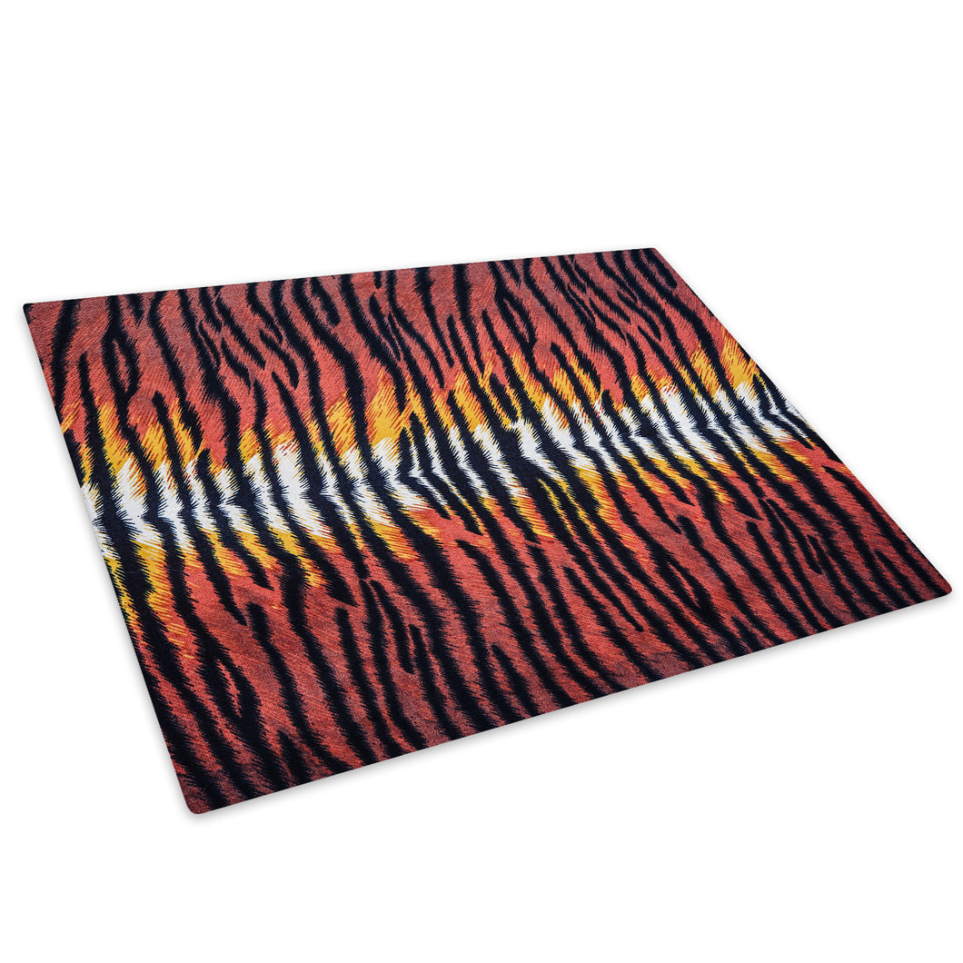 Red Tiger Fur Skin Coat Glass Chopping Board Kitchen Worktop Saver Protector - A413-Animal Chopping Board-WhatsOnYourWall