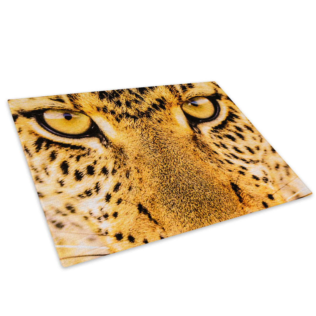 Golden Leopard Cat Eye Glass Chopping Board Kitchen Worktop Saver Protector - A415-Animal Chopping Board-WhatsOnYourWall