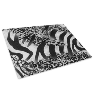 Black Leopard Zebra Fur Glass Chopping Board Kitchen Worktop Saver Protector - A416-Animal Chopping Board-WhatsOnYourWall