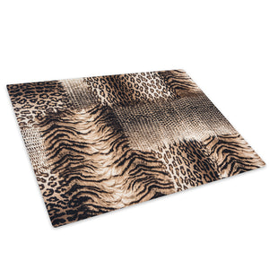 Multi Big Cat Fur Pattern Glass Chopping Board Kitchen Worktop Saver Protector - A419-Animal Chopping Board-WhatsOnYourWall