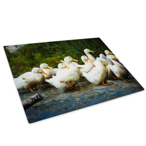 Flock White Geese Orange Glass Chopping Board Kitchen Worktop Saver Protector - A422-Animal Chopping Board-WhatsOnYourWall