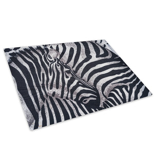 Zebra Herd Fur Pattern Glass Chopping Board Kitchen Worktop Saver Protector - A429-Animal Chopping Board-WhatsOnYourWall