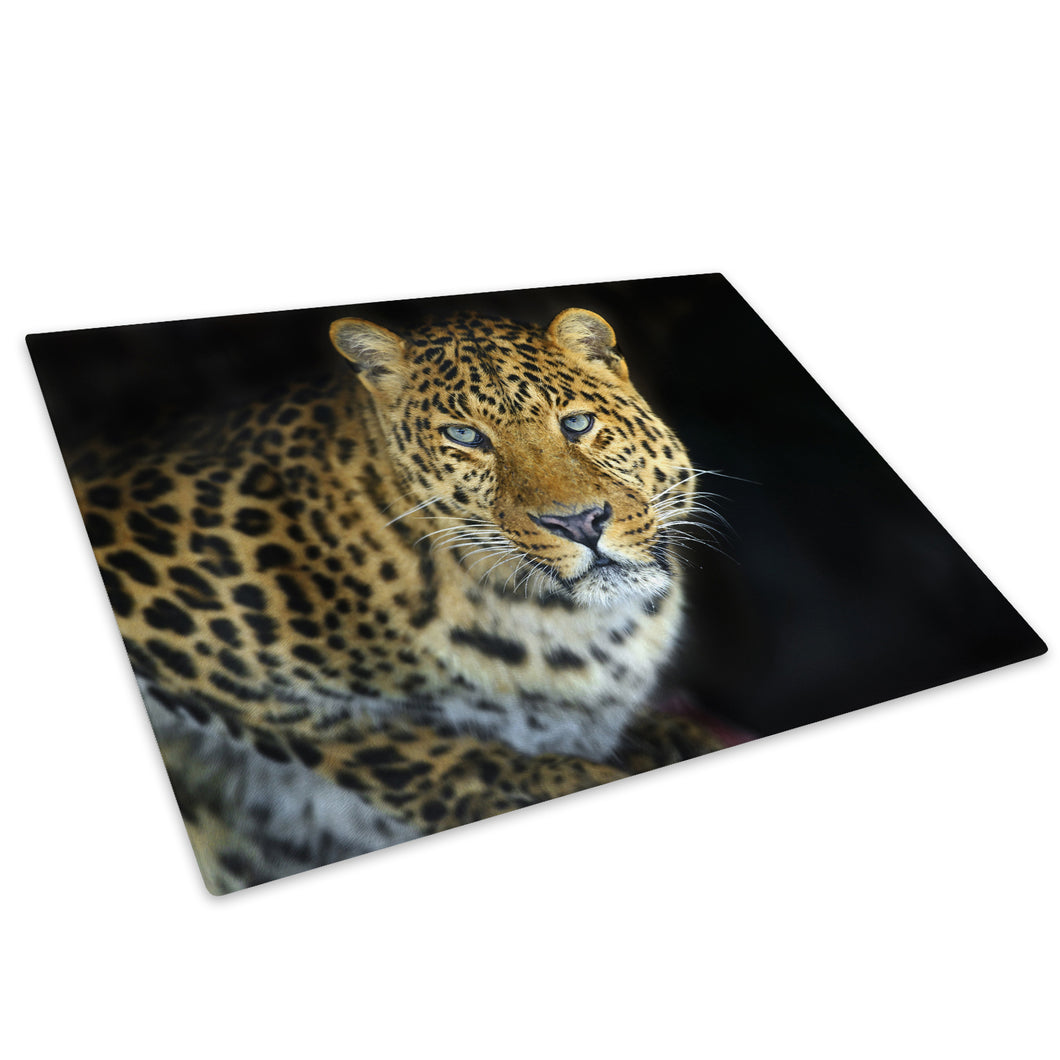 Golden Leopard Blue Black Glass Chopping Board Kitchen Worktop Saver Protector - A431
