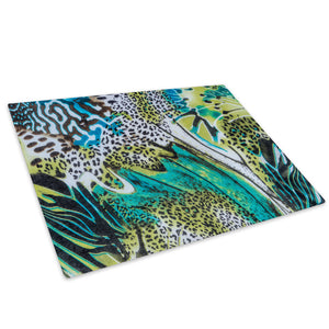 Blue Green Leopard Fur Glass Chopping Board Kitchen Worktop Saver Protector - A436-Animal Chopping Board-WhatsOnYourWall