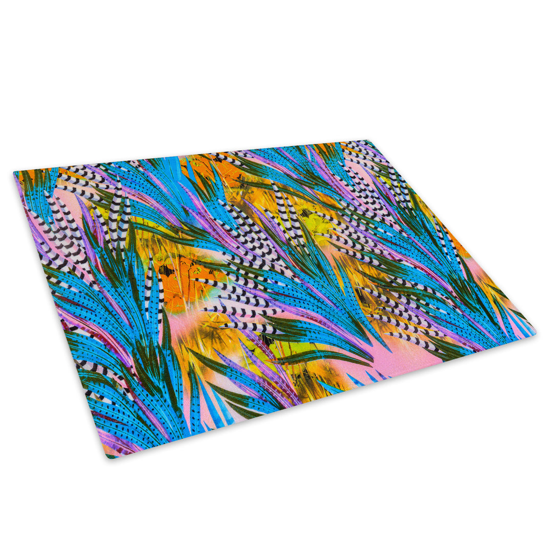 Blue Yellow Feather Pink Glass Chopping Board Kitchen Worktop Saver Protector - A439-Animal Chopping Board-WhatsOnYourWall