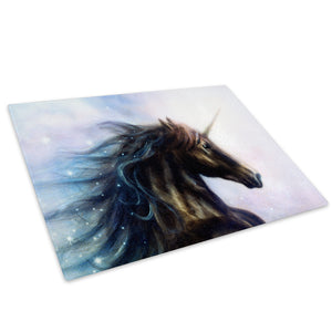 Black Unicorn Blue White Glass Chopping Board Kitchen Worktop Saver Protector - A441-Animal Chopping Board-WhatsOnYourWall