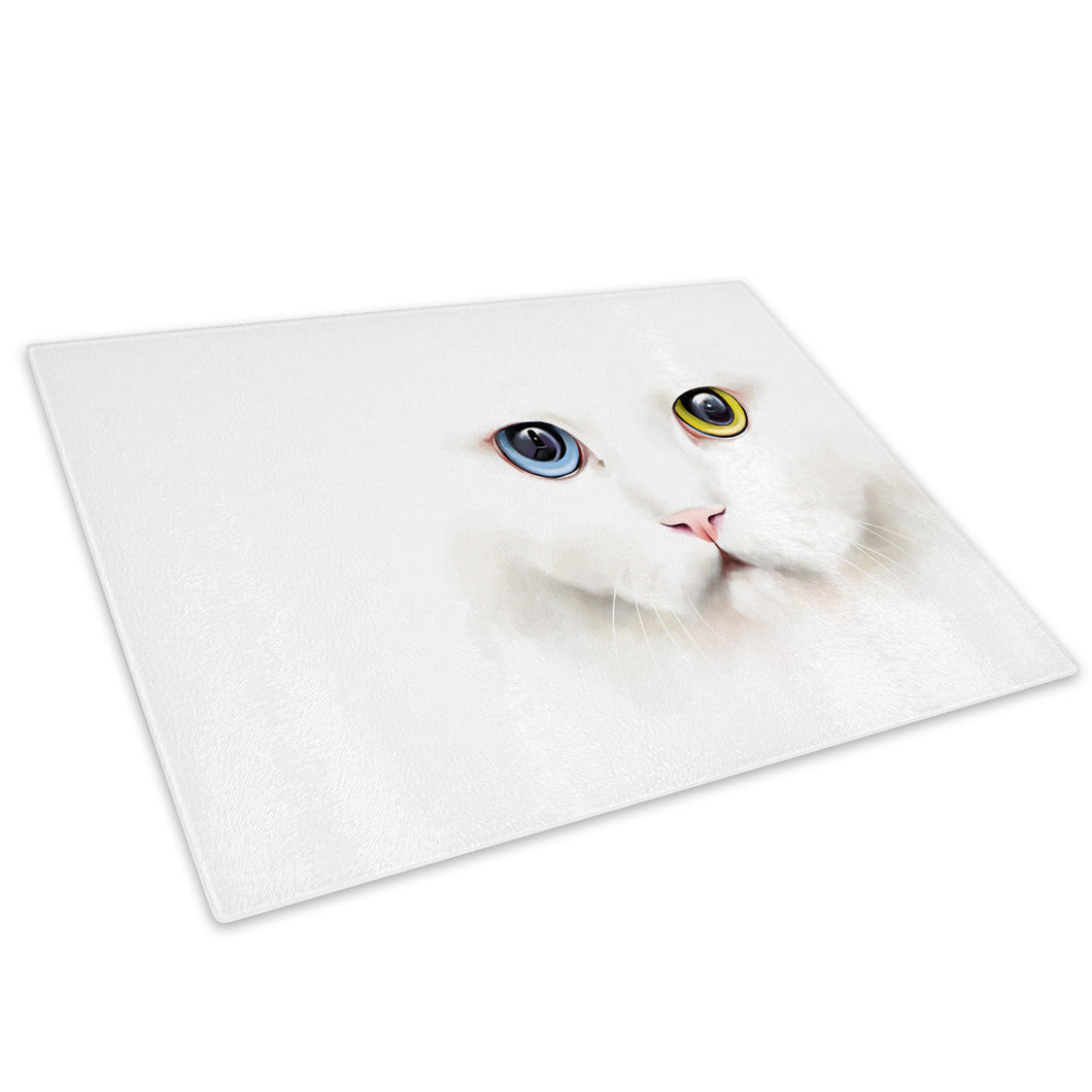 Blue Yellow Cat White Glass Chopping Board Kitchen Worktop Saver Protector - A446-Animal Chopping Board-WhatsOnYourWall
