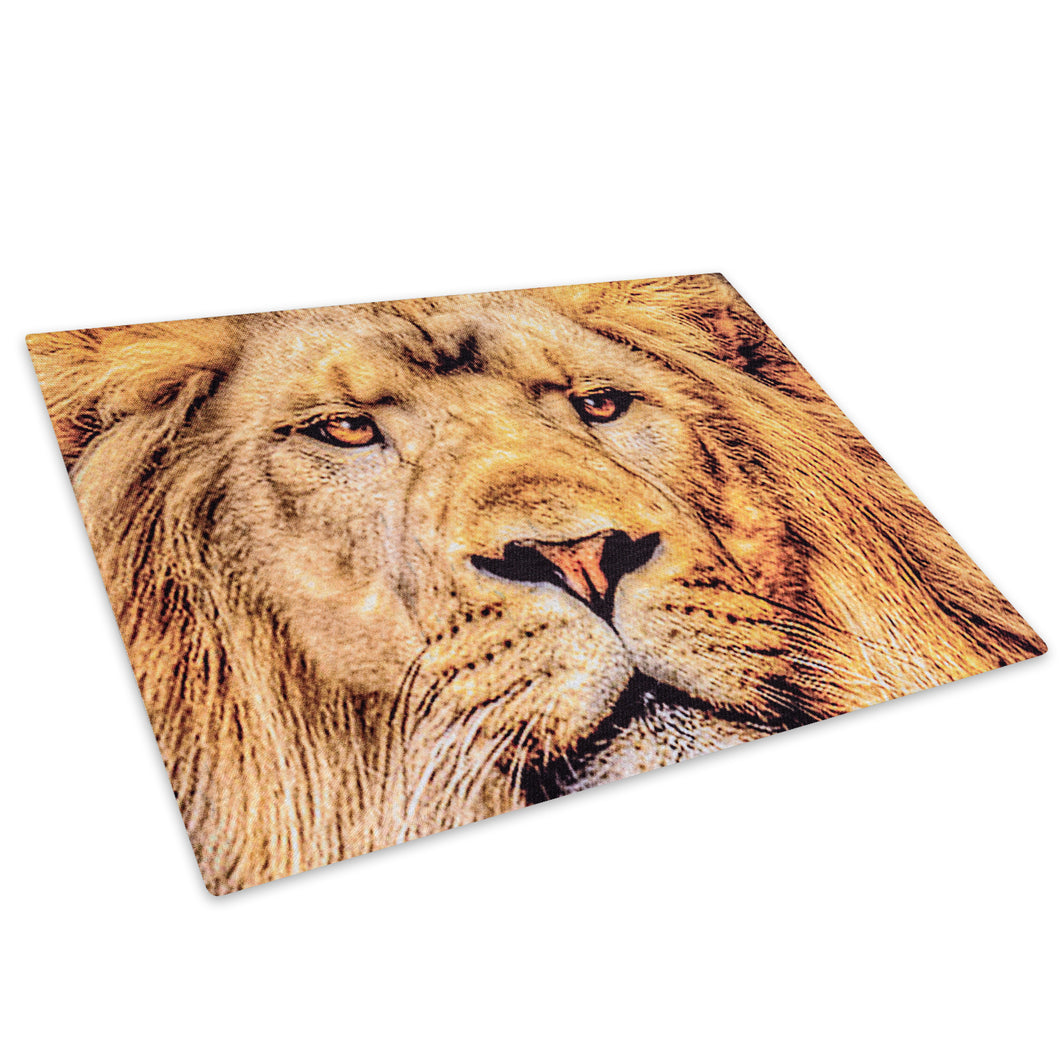Golden Africa Lion Yellow Glass Chopping Board Kitchen Worktop Saver Protector - A447-Animal Chopping Board-WhatsOnYourWall