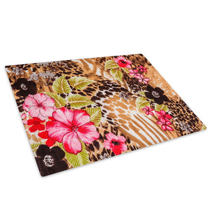Brown Cheetah Flower Pink Glass Chopping Board Kitchen Worktop Saver Protector - A450