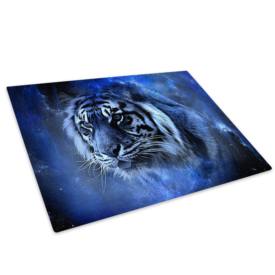 Blue Fantasy Tiger Black Glass Chopping Board Kitchen Worktop Saver Protector - A454-Animal Chopping Board-WhatsOnYourWall