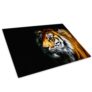 Black Golden Tiger Yellow Glass Chopping Board Kitchen Worktop Saver Protector - A456-Animal Chopping Board-WhatsOnYourWall