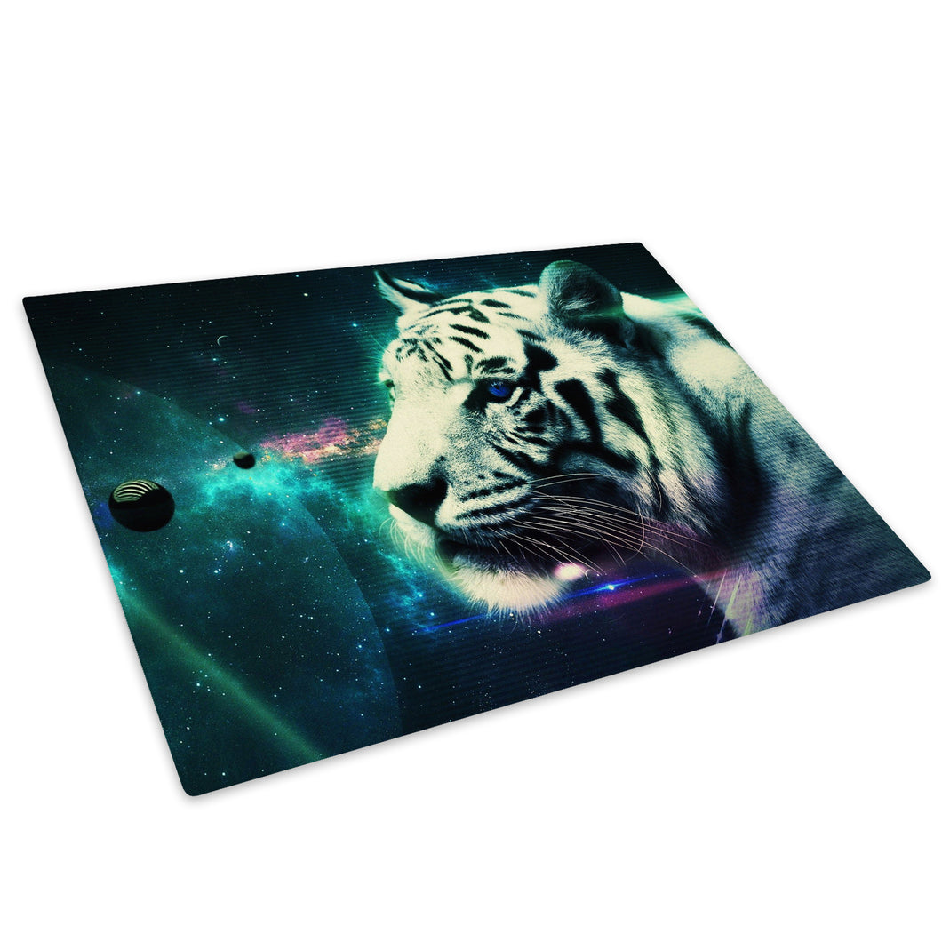 Fantasy White Tiger Blue Glass Chopping Board Kitchen Worktop Saver Protector - A461-Animal Chopping Board-WhatsOnYourWall