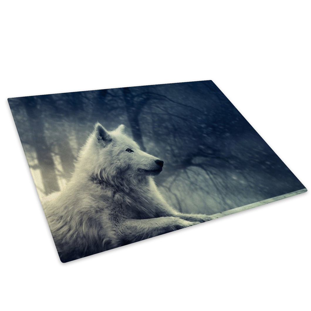 White Wolf Forest Black Glass Chopping Board Kitchen Worktop Saver Protector - A463