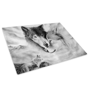 Arctic Wolves Black White Glass Chopping Board Kitchen Worktop Saver Protector - A464