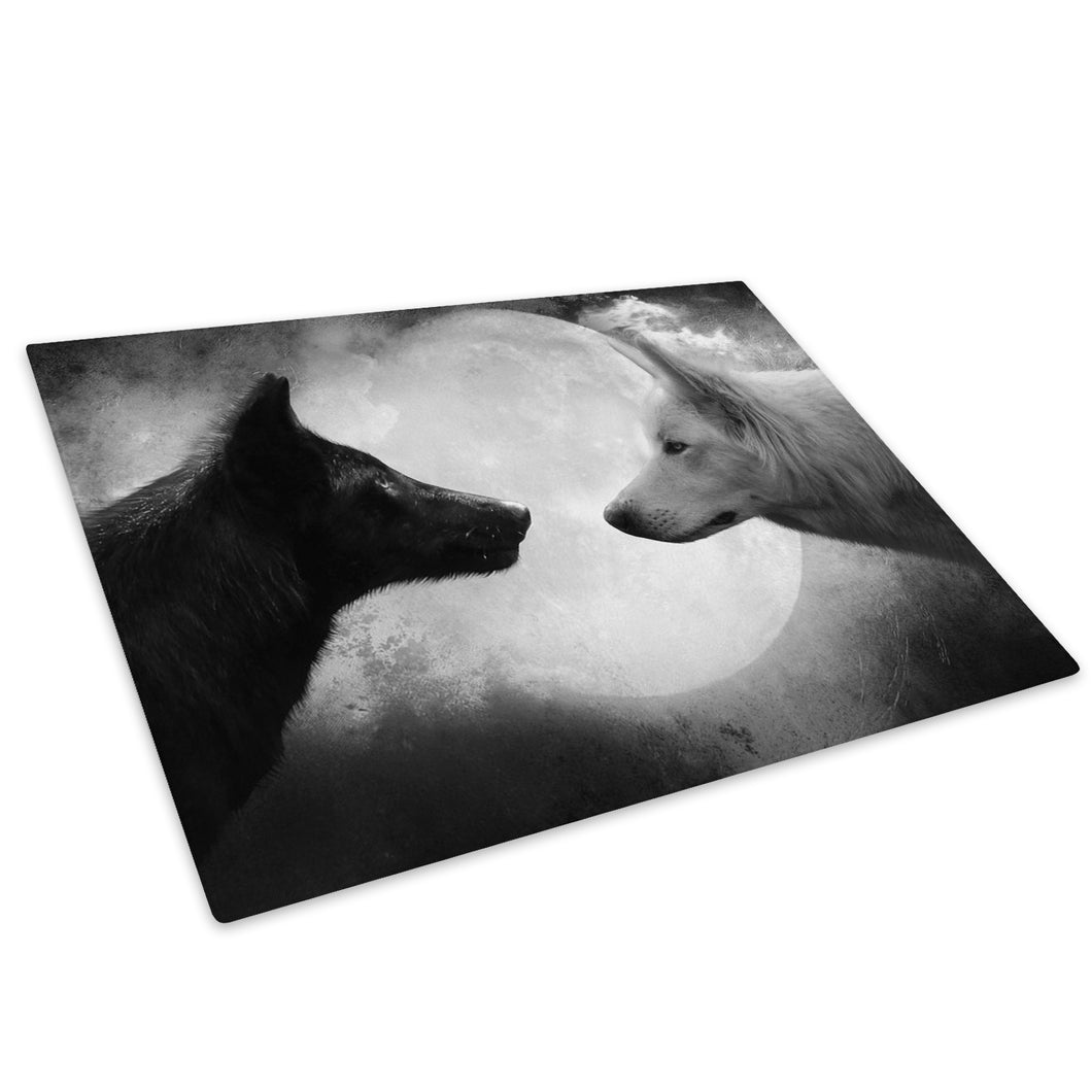 White Black Wolves Moon Glass Chopping Board Kitchen Worktop Saver Protector - A465
