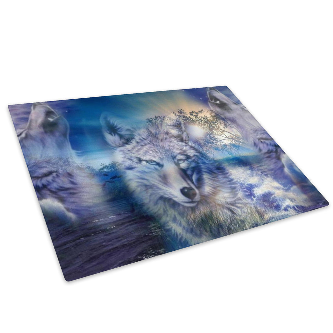 Wolf Abstract Blue Black Glass Chopping Board Kitchen Worktop Saver Protector - A467