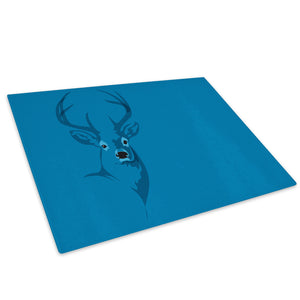 Blue Silhouette Abstract Glass Chopping Board Kitchen Worktop Saver Protector - A477-Animal Chopping Board-WhatsOnYourWall