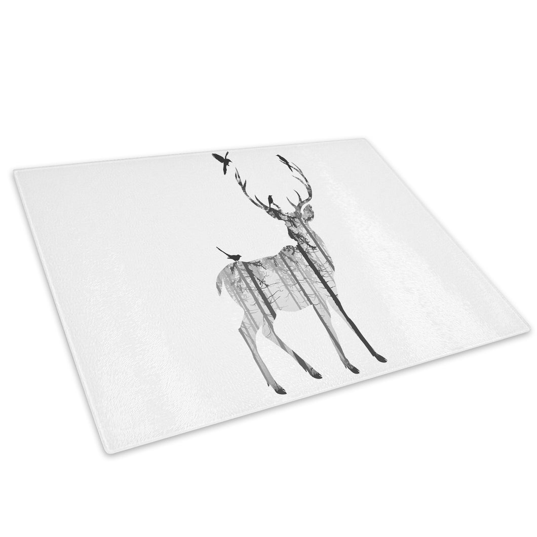 Black Watercolour Stag Glass Chopping Board Kitchen Worktop Saver Protector - A479