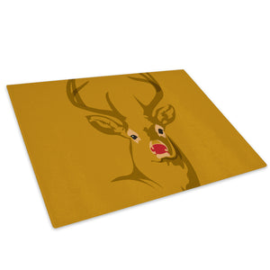 Brown Stag Deer Red Yellow Glass Chopping Board Kitchen Worktop Saver Protector - A481-Animal Chopping Board-WhatsOnYourWall