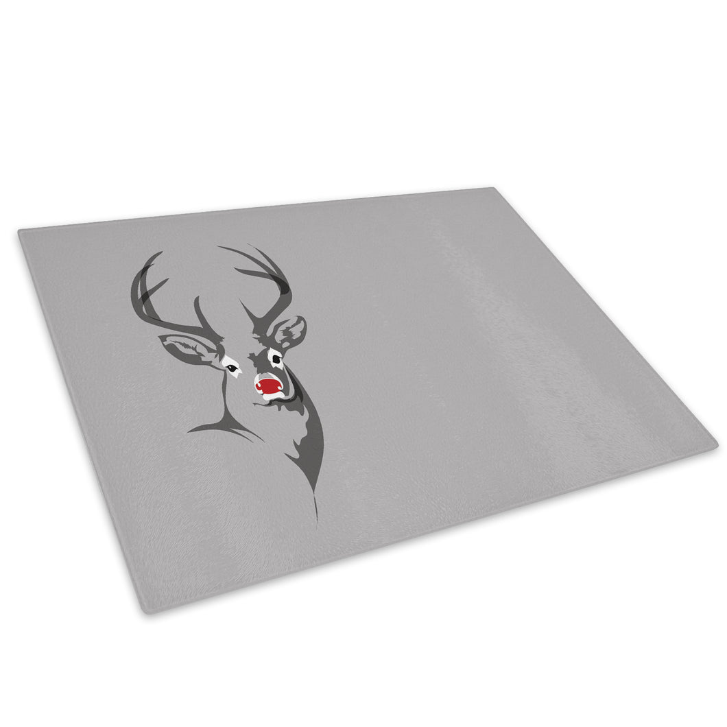 Grey Stag Deer Grey Red Glass Chopping Board Kitchen Worktop Saver Protector - A482-Animal Chopping Board-WhatsOnYourWall