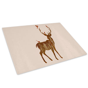Brown Watercolour Deer Glass Chopping Board Kitchen Worktop Saver Protector - A485-Animal Chopping Board-WhatsOnYourWall
