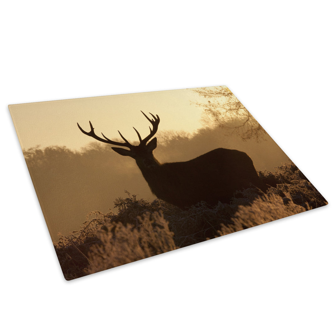 Brown Shadow Stag Forest Glass Chopping Board Kitchen Worktop Saver Protector - A493