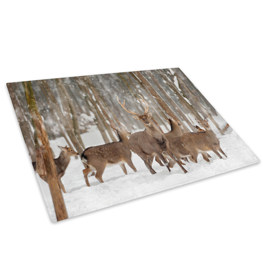 Herd Deer Stag Snow Forest Glass Chopping Board Kitchen Worktop Saver Protector - A495