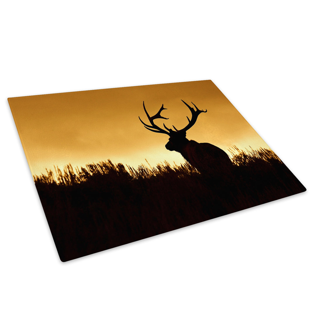 Sunset Silhouette Deer Glass Chopping Board Kitchen Worktop Saver Protector - A501-Animal Chopping Board-WhatsOnYourWall