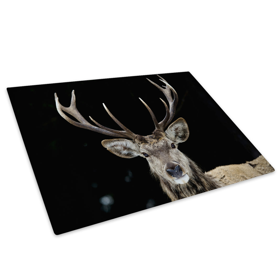 Black Stag Deer Grey White Glass Chopping Board Kitchen Worktop Saver Protector - A508-Animal Chopping Board-WhatsOnYourWall