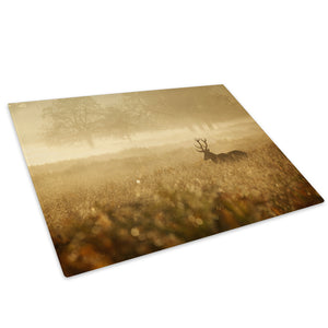 Forest Stag Yellow Brown  Glass Chopping Board Kitchen Worktop Saver Protector - A513