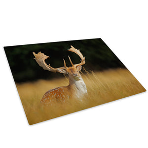 Stag Deer Green Brown  Glass Chopping Board Kitchen Worktop Saver Protector - A518